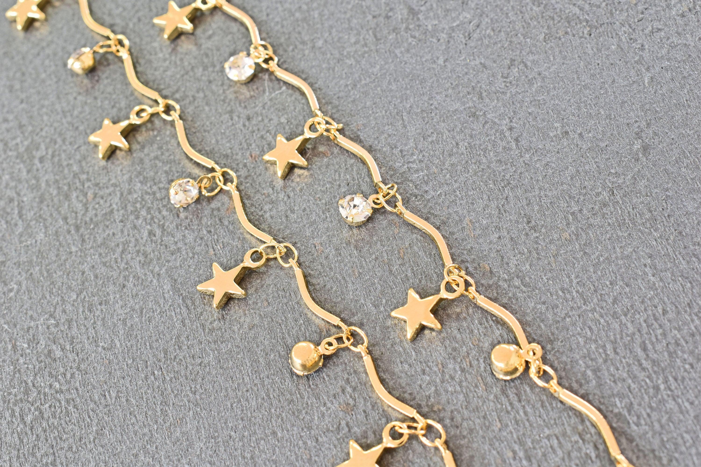 Chaîne, CE-02GU [mise à niveau qualité], 1m, étoile et et et clair ronde chaîne de charme, en laiton plaqué or 16 carats, Cubic zirconia breloque, chaine à la main eeed36
