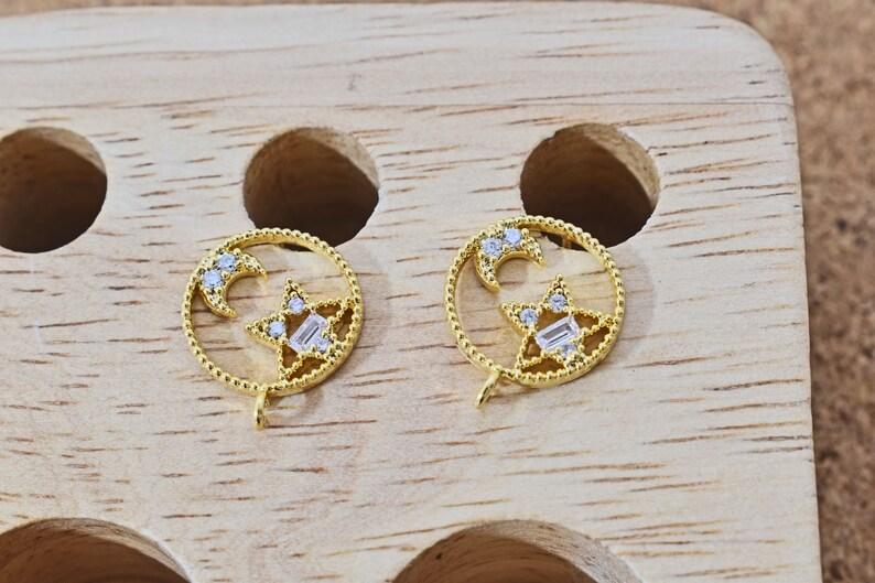 Cubic zirconia Nickel free plating Palladium 2pcs 925 silver post 16K gold plated brass 12.5mm Earring post EW-26G