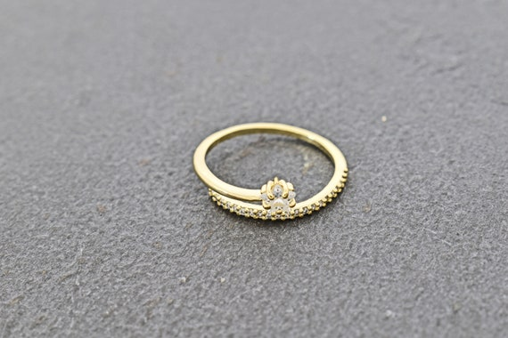 Scarf ring 1pc Ring RW-AG Good for layered rings Cubic zirconia 16K shiny gold plated brass 16.5x1.3mm