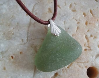Simple Sterling Silver Moss Seaglass Necklace