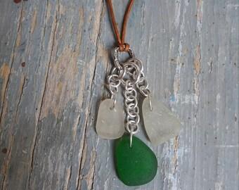 Sterling Silver Green Seaglass Choker