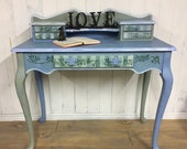 Hand painted ladies writing desk, bonheur du jour, whimsical furniture, upcycled desk