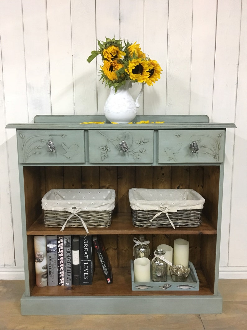Hand Painted Bookcase Blue Bookcase With Drawers