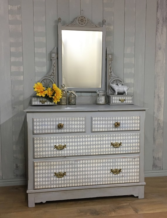 Hand Painted Rustic Grey Drawers Antique Dresser With Mirror Etsy