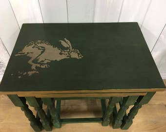 Nesting tables, nest of tables, side table, small tables, green furniture, hare theme, hand painted, Chalk Paint