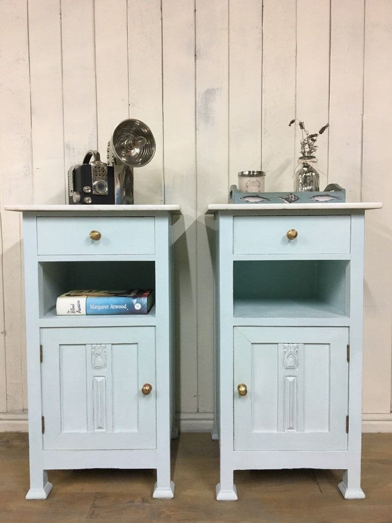 Pair of cabinets, beach house furniture, hand painted bedroom furniture