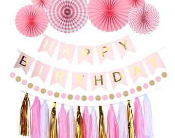Pink And Gold Birthday Decoration With Happy Banner Paper Fans Tassel Garland For Girls Or Womens Party