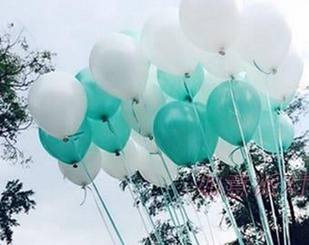 100PCS 10 Seafoam Aqua Latex Balloons Girl Baby Shower Birthday Hen Party Wedding Neutral Decoration