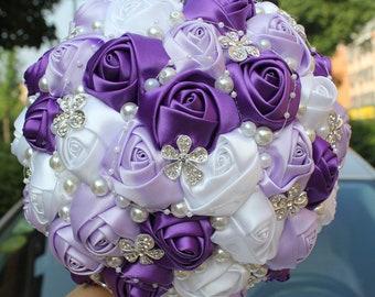 e624bf4c8 Lavender Purple White Mixed Satin Rose Bouquet Rhinestone Pearl Jewellery  Bridal Bouquet Brooch Bouquet Bridesmaid Bouquet Wedding Flowers