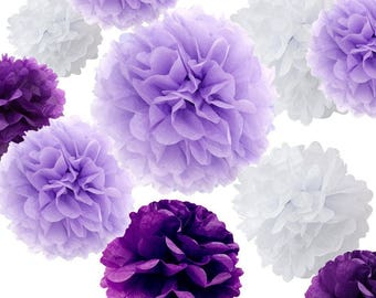 Set Of 18 Mixed Purple Lavender White DIY Tissue Paper Pom Poms Flower Ball Baby Shower Bridal Wedding Engagement Birthday Party