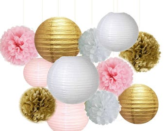 Set of 12 Mixed Gold Pink White Party Tissue Pom Poms Paper Lantern Baby Shower Birthday Wedding Neutral Hanging Decoration
