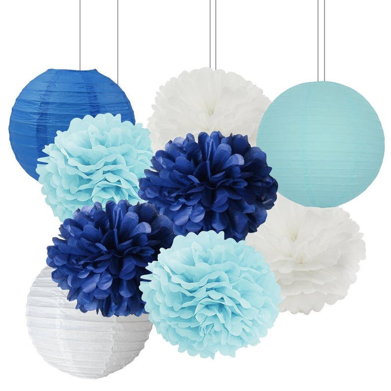 Fabulous 9Pcs Navy Baby Blue White Tissue Paper Pom Pom And Paper Lanterns Mixed Package For Party Wedding Baby Shower Nursery Room Decoration Interior Design Ideas Clesiryabchikinfo