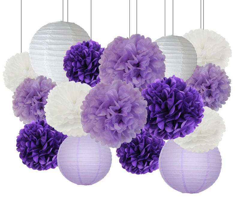 3846982eb43 16PCS Purple Lavender White Mixed Tissue Pom Poms Paper