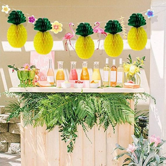 Keyond 12 Pack Pineapple Honeycomb Centerpieces Tissue Paper Pineapple 8 Inch Party Supplies Table Hanging Decoration Hawaiian Luau Party Birthday Wedding Home Favor