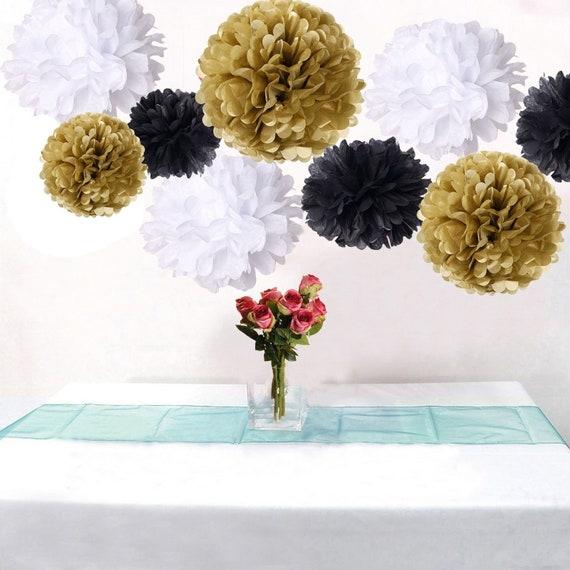 18pcs mixed gold black white tissue paper pom poms flower ball etsy image 0 mightylinksfo