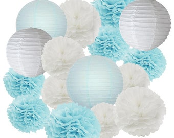 16pcs Boy Baby Shower Decorations Baby Blue White Mixed Tissue Pom Poms Paper Lantern Party Favors Wedding Birthday Decorations