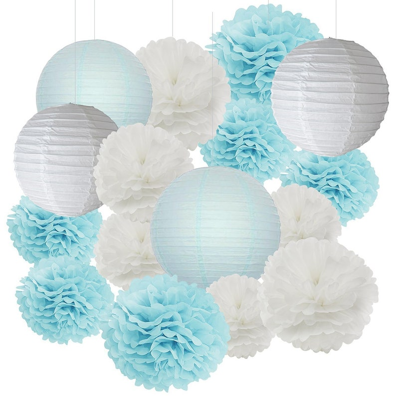 Awesome 16Pcs Boy Baby Shower Decorations Baby Blue White Mixed Tissue Pom Poms Paper Lantern Party Favors Wedding Birthday Decorations Interior Design Ideas Clesiryabchikinfo