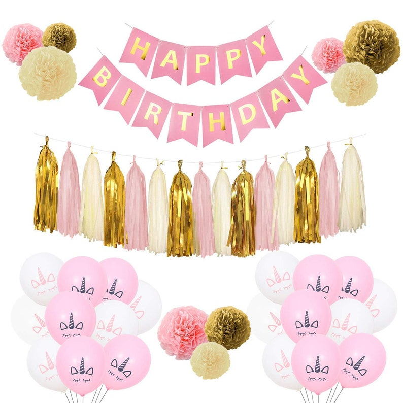 Pink And Gold Birthday Decorations Girls Unicorn Balloons Tissue Pom Poms Tassel Garland Banner Party