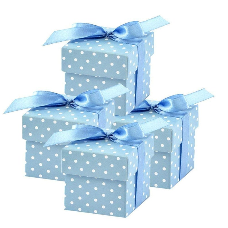 Baby Blue Polka Dot Square Favor Boxes with Lid for Elephant Boy Baby Shower Christening Prince Birthday Wedding Bridal Shower Party Decor