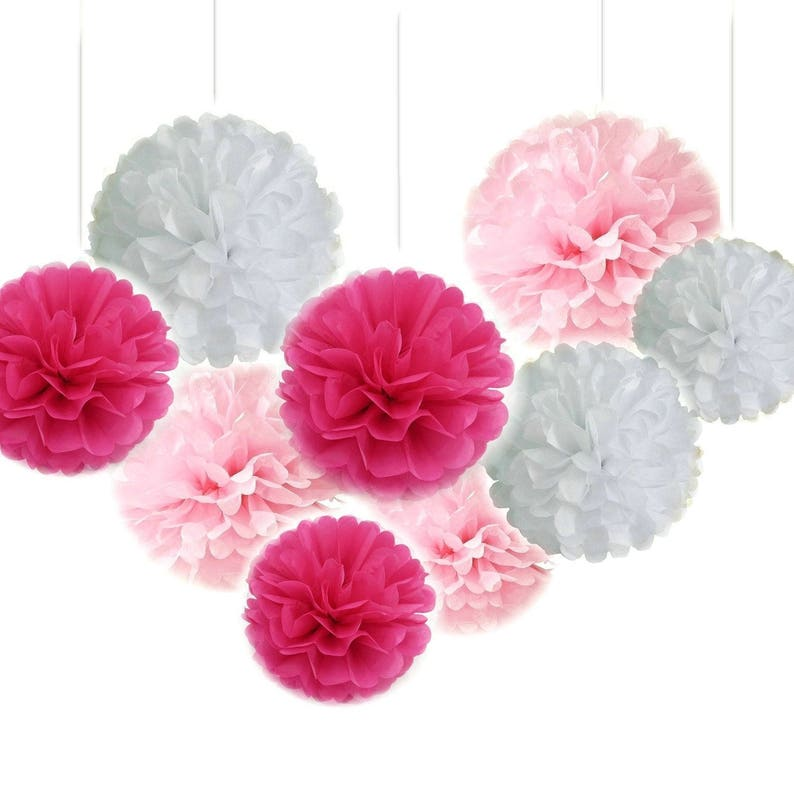 Set of 18 Pink Fuchsia White Tissue Paper Pom Poms Craft Party Flower Balls Wedding Neutral Party Girl Baby Shower Decoration Favor
