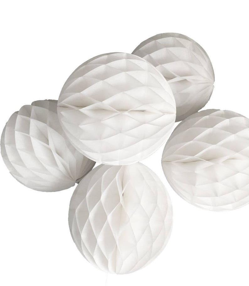 5-Pack 8 Inch White Honeycomb Tissue Paper Balls Baby Shower Gender Reveal Party Wedding Christmas Tree Ornaments