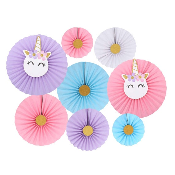 Unicorn Party Hanging Paper Fans Unicorn Party Papers Rosettes Etsy