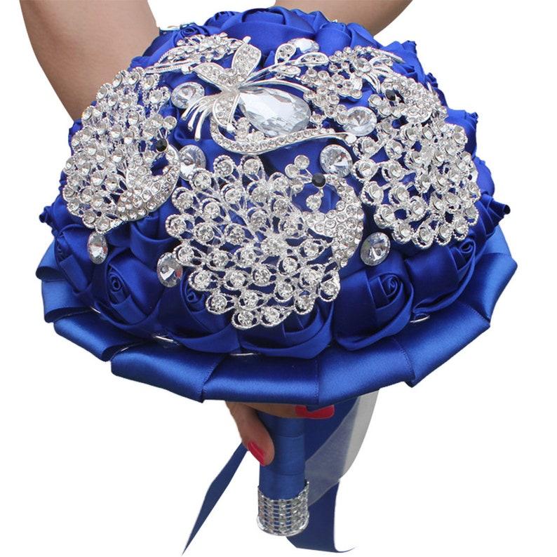 Bridesmaid Bouquet Rhinestone Butterfly Bouquet Royal Blue Full Crystal Wedding Bouquet Satin Rose Brooch Bouquet Jewelry Bridal Bouquet