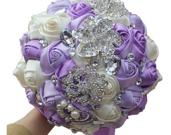 Lavender and Ivory Mixed Satin Rose Wedding Bouquet Crystal Rhinestone Bridal Bouquet Bridesmaid Bouquet Brooch Bouquet Wedding Flowers
