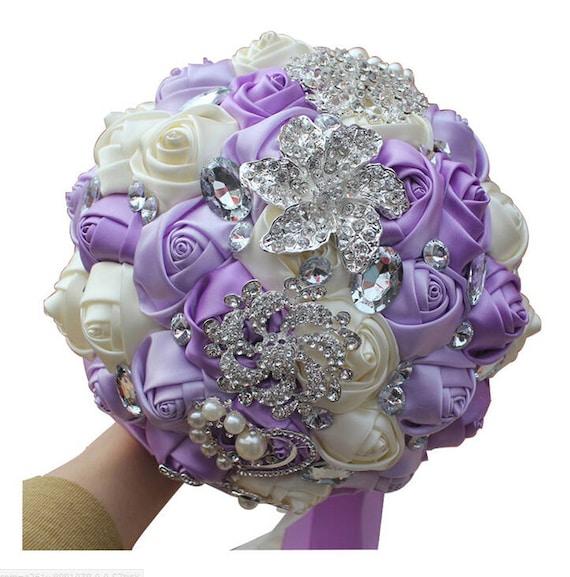 Bouquet Sposa Lavanda.Lavanda E Avorio Misto Strass Raso Rosa Nozze Bouquet Bouquet Etsy