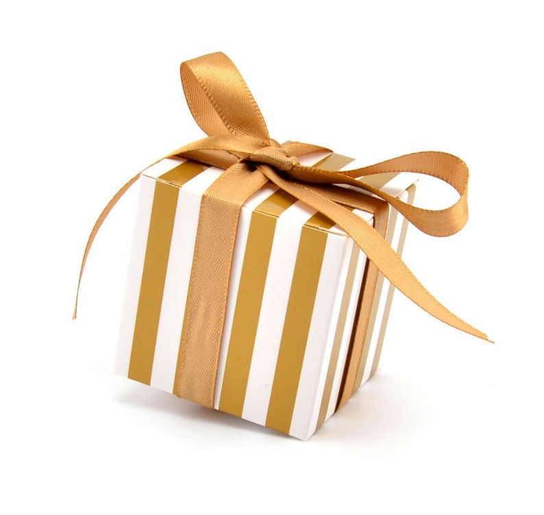 Gold Silver Favor Boxes Stripes Design Candy Treat Gift Boxes with Stain Ribbon for Bridal Shower Baby Shower Wedding Birthday Party