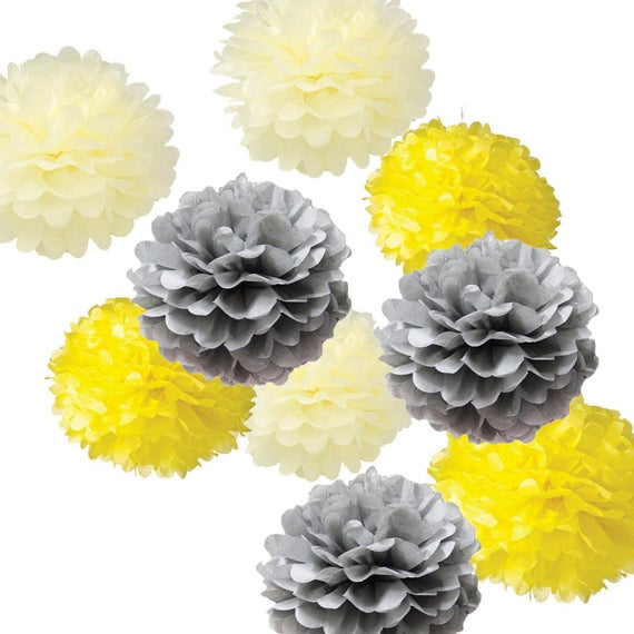 Set of 18 mixed yellow ivory gray tissue paper pom poms flower etsy image 0 mightylinksfo