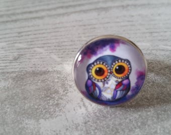 Purple OWL cabochon ring