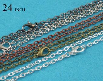4a60da642 10/50/100 - 24 inch Cable Chain Necklace, 60cm Necklace Chain, 3mm Oval  Link Rolo Chain Necklace, 24'' Chain Necklace - 8 Colors