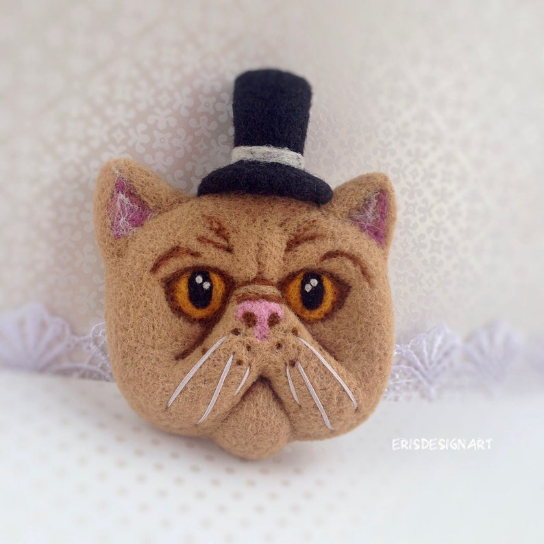 Cat Brooch Pin Large Needle Felted Cat Lover Gift for Her Accessories for Women Animal Brooch Pin Jewelry