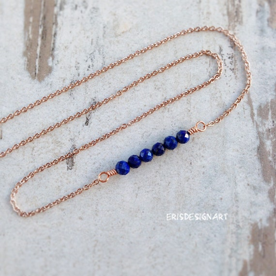 Lapis lazuli necklace September birthstone unique jewelry Bridesmaid fertility necklace for bride Everyday lapis jewelry Girl gift for wife