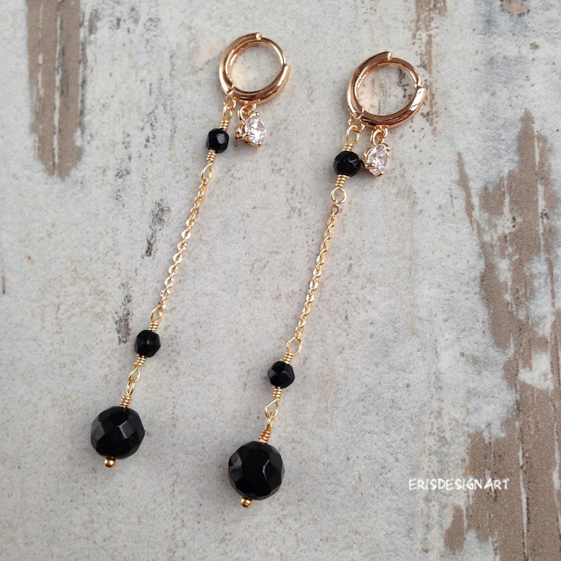 Black tourmaline jewelry set 18k gold plated necklace bracelet and earring earrings stone elegant gold jewelry set