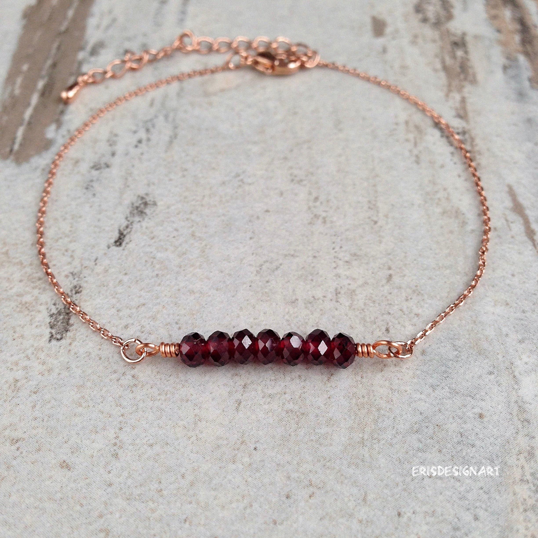 14K Gold-Filled Garnet Bracelet
