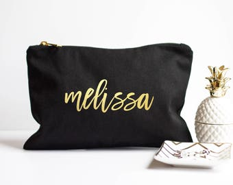 Personalized Makeup Bag - Bridesmaid Gift - Maid of Honor Gift - Wedding Party - Custom Makeup Bag - Bachelorette Party Gift - Gold Foil Bag