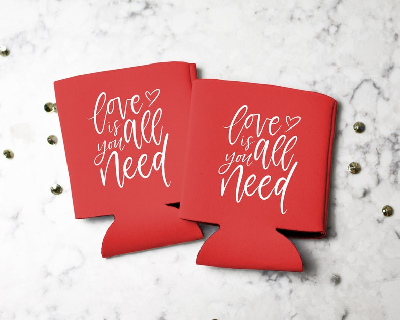 Can Cooler Valentine/'s Party Favor Valentines Gift for Her All You Need is Love