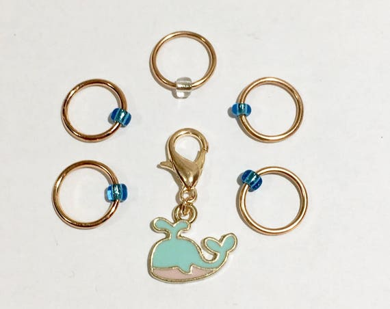 Whale progress keeper and matching stitch markers - set of 6