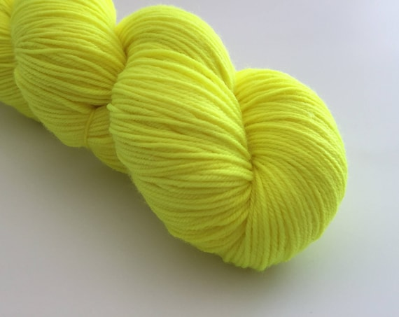Hi-vis - hand-dyed yellow 4ply sock yarn - 100g