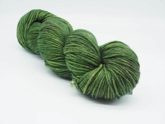 Moss - hand-dyed semi-solid green superwash DK (8 ply) merino yarn - 100g (225m)