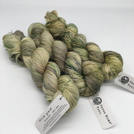 Olive grove - hand-dyed merino cashmere silk yarn - 100g (400m)