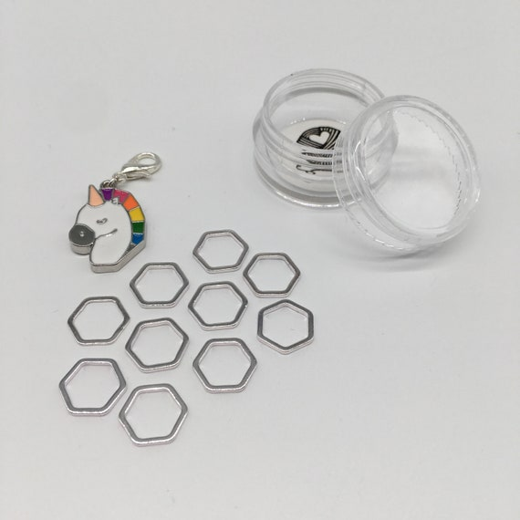 Unicorn progress keeper plus 10 Luxe large hexagon stitch markers - silver
