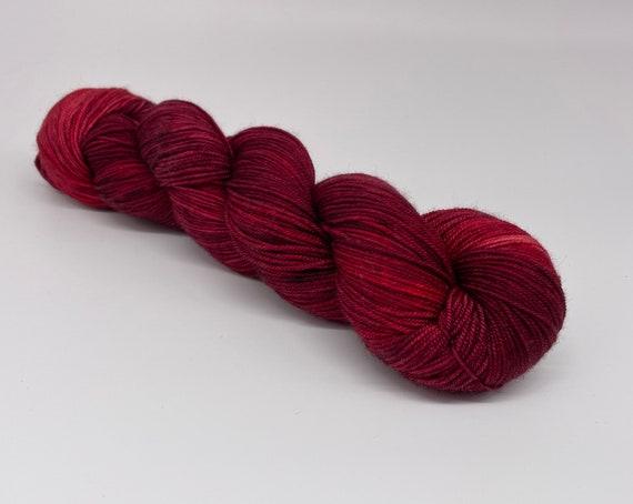 Claret - hand-dyed semi-solid deep red merino cashmere silk yarn - 100g (400m)
