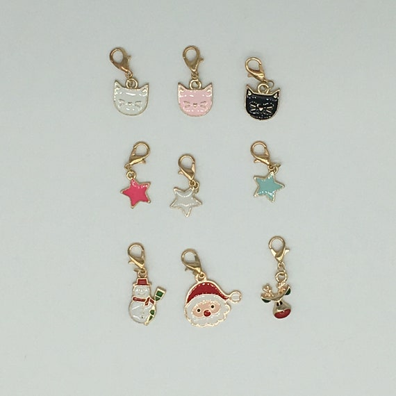 Progress keepers for knitting or stitch markers for crochet - set of 3