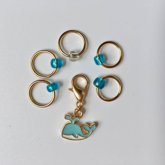 Whale charm progress keeper and matching stitch markers - set of 6