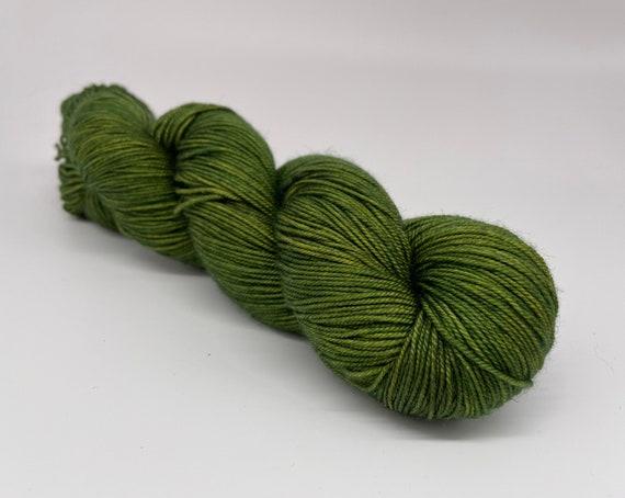 Moss - hand-dyed semi-solid green merino cashmere silk yarn - 100g (400m)