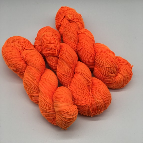 Traffic cone - hand-dyed flourescent orange super sock yarn - 100g (425m)