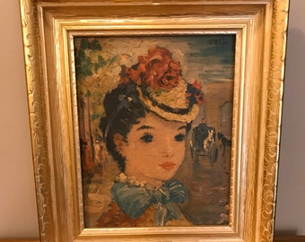 Beautiful Vintage Framed Paper Print - French Woman - 1940's Art - French Impressionism - Signed